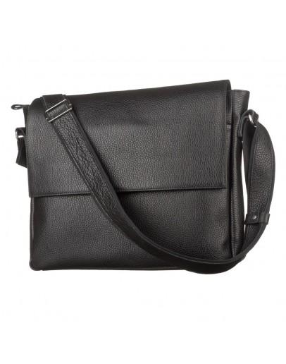 Фотография Черная мужская кожаная сумка на плечо формата А4 SHVIGEL 11043