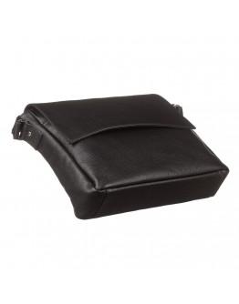 Черная мужская кожаная сумка на плечо формата А4 SHVIGEL 11043