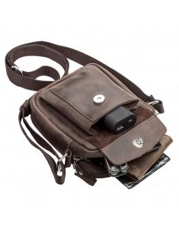 Маленькая кожаная коричневая сумка на плечо SHVIGEL 11077