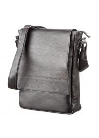 Черная сумка кожаная на плечо формата А4 SHVIGEL 11080