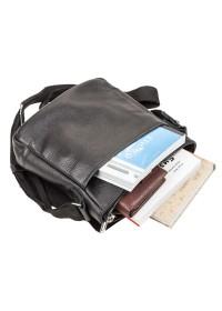 Кожаная квадратная черная сумка на плечо SHVIGEL 11081