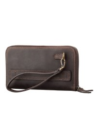 Кожаный коричневый винтажный клатч SHVIGEL 11083