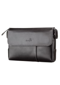 Черный мужской кожаный удобный клатч SHVIGEL 11084
