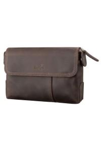 Коричневый кожаный винтажный мужской клатч SHVIGEL 11085
