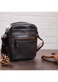 Коричневая небольшая мужская кожаная сумка - барсетка SHVIGEL 11089