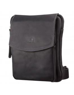 Черная сумка кожаная мужская на плечо SHVIGEL 11092