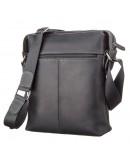Фотография Кожаная мужская черная сумка через плечо SHVIGEL 11098
