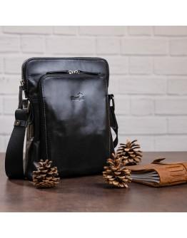 Черный кожаный мужской мессенджер SHVIGEL 11101