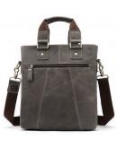 Фотография Мужская сумка серая кожаная Vintage 14818