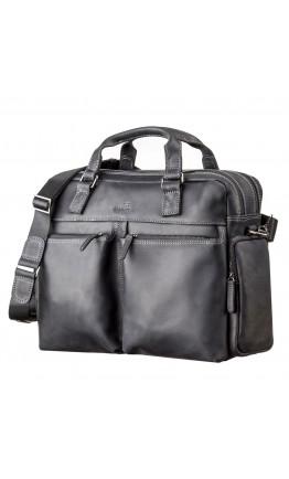 Мужская черная кожаная сумка вместительная SHVIGEL 11117