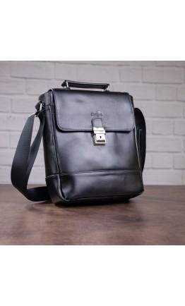 Деловая черная мужская кожаная сумка SHVIGEL 11118
