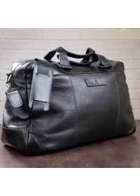 Дорожная кожаная черная мужская сумка SHVIGEL 11120