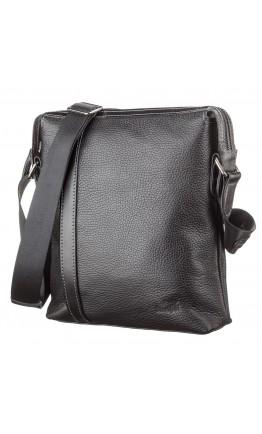 Черная мужская кожаная сумка на плечо SHVIGEL 11122