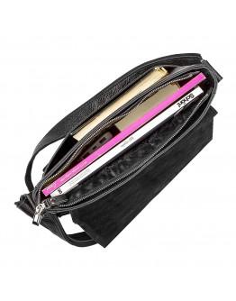 Черная сумка через плечо кожаная SHVIGEL 11131