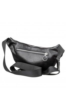 Черная мужская сумка на пояс GRANDE PELLE 11140