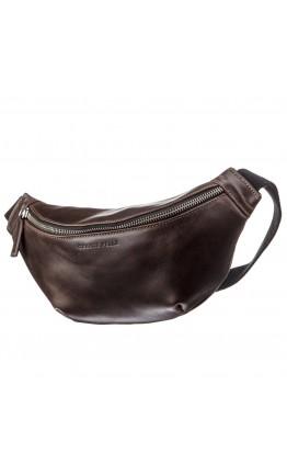 Темно-коричневая мужская сумка на пояс - бананка GRANDE PELLE 11143
