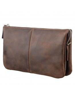 Коричневый винтажный мужской кожаный клатч GRANDE PELLE 11145