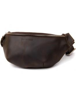 Кожаная мужская винтажная коричневая сумка на пояс GRANDE PELLE 11154