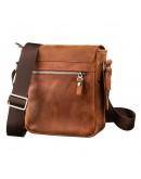 Фотография Мужская винтажная кожаная небольшая рыжая сумка SHVIGEL 11163