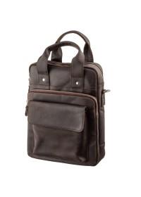 Коричневая вертикальная винтажная сумка формата А4 SHVIGEL 11166