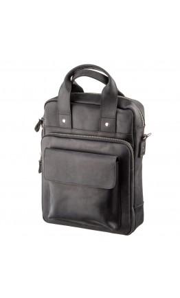 Винтажная черная кожана сумка формата А4 SHVIGEL 11169