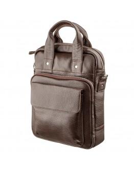 Мужская кожаная коричневая сумка формата А4 SHVIGEL 11168