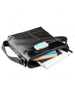 Мужская сумка кожаная планшетка на плечо черная SHVIGEL 11181