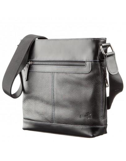 Фотография Мужская сумка кожаная планшетка на плечо черная SHVIGEL 11181