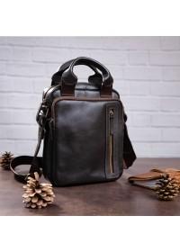 Кожаная коричневая вертикальная сумка барсетка SHVIGEL 11183