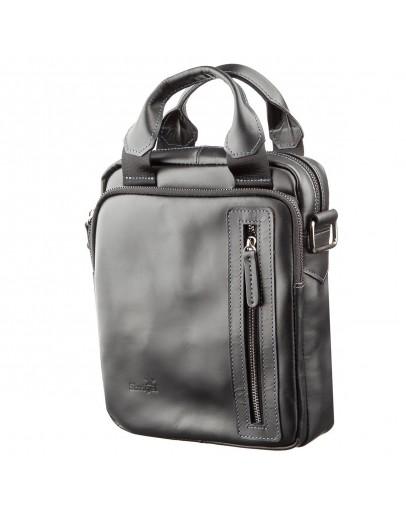Фотография Кожаная сумка черная вертикальная SHVIGEL 11184