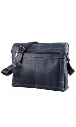 Сумка на плечо формата A4 из синей винтажной кожи SHVIGEL 11249