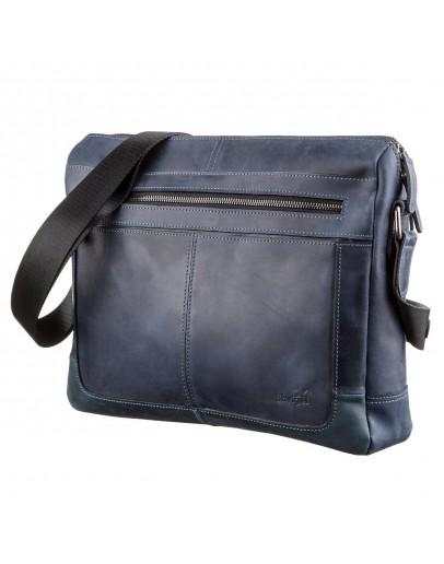 Фотография Сумка на плечо формата A4 из синей винтажной кожи SHVIGEL 11249