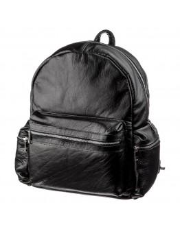 Кожаный черный вместительный рюкзак SHVIGEL 11260