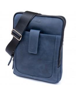 Мужская сумка синяя планшетка кожаная SHVIGEL 11284