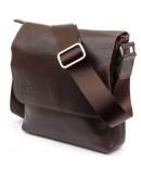 Фотография Мужская коричневая сумка на плечо из гладкой кожи GRANDE PELLE 11334