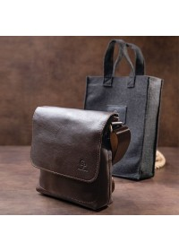 Мужская коричневая сумка на плечо из гладкой кожи GRANDE PELLE 11334