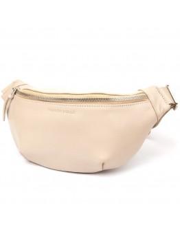 Кожаная бежевая сумка на пояс GRANDE PELLE 11357