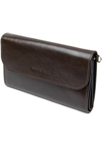 Темно-коричневый удобный мужской клатч GRANDE PELLE 11426
