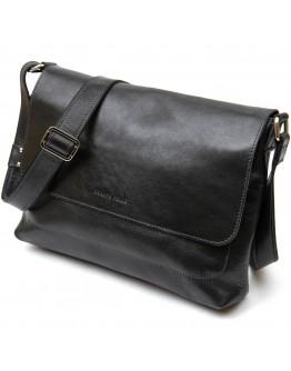 Черная кожаная вместительная горизонтальная мужская сумка GRANDE PELLE 11429