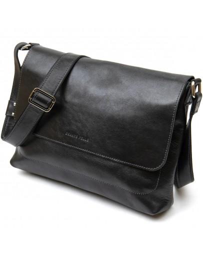 Фотография Черная кожаная вместительная горизонтальная мужская сумка GRANDE PELLE 11429