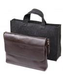 Фотография Коричневая горизонтальная кожаная плечевая сумка GRANDE PELLE 11430
