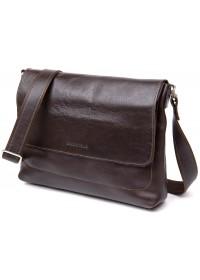 Коричневая горизонтальная кожаная плечевая сумка GRANDE PELLE 11430