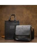 Фотография Черная мужская винтажная сумка на плечо GRANDE PELLE 11431
