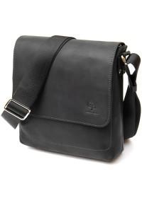 Черная мужская винтажная сумка на плечо GRANDE PELLE 11431