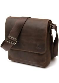 Коричневый винтажный мужской мессенджер кожаный GRANDE PELLE 11432
