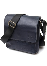 Повседневная темно-синяя кожаная сумка на плечо GRANDE PELLE 11433