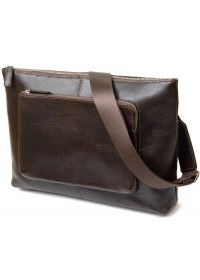 Коричневая мужская вместительная сумка на плечо GRANDE PELLE 11438