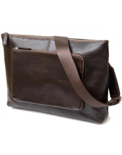 Фотография Коричневая мужская вместительная сумка на плечо GRANDE PELLE 11438