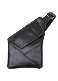 Черный кожаный мужской слинг GRANDE PELLE 11439