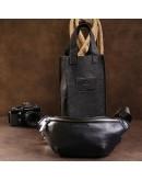 Фотография Черная кожаная мужская сумка на пояс GRANDE PELLE 11569